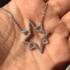 North Star necklace pendant zirconium stones new